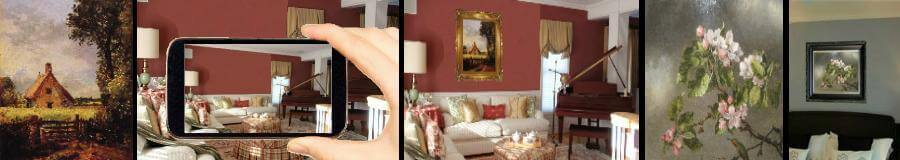 in house oil painting reproduction photo mock up