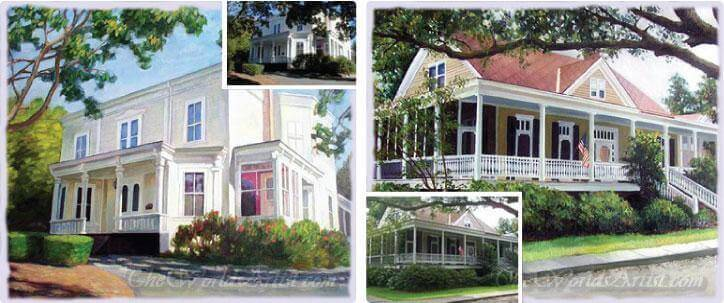 oil painting estate homes from photographs