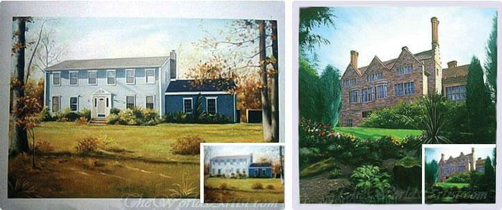 oil painting of houses from photos