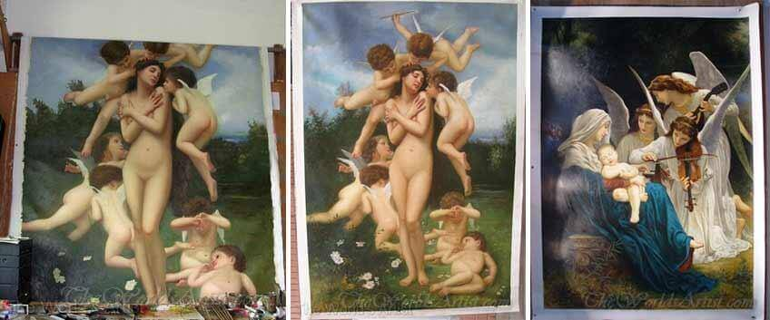 Adolphe William Bouguereau Printemps Springtime and the Virgin with Angels playing Music replica