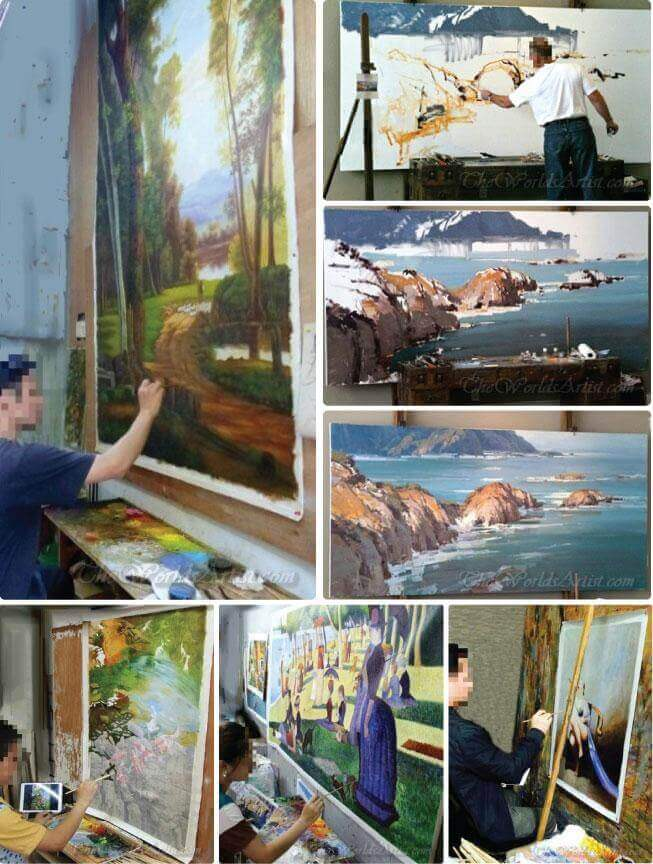 the worlds artist painting fine art reproductions in the studio