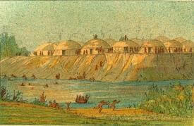 A Village Of The Hidatsa Tribe At Knife River