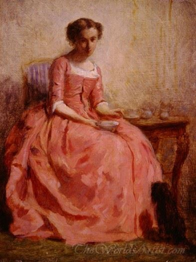 Girl In A Pink Dress Reading With A Dog