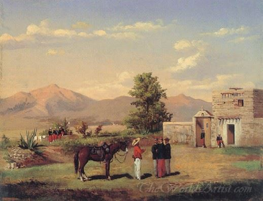 Mexican View With French Soldiers