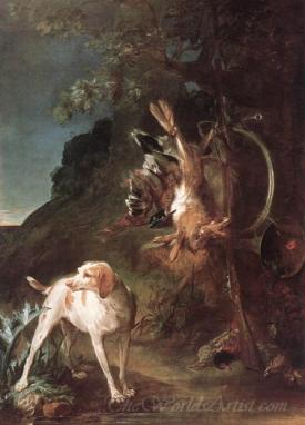 Game Still Life With Hunting Dog