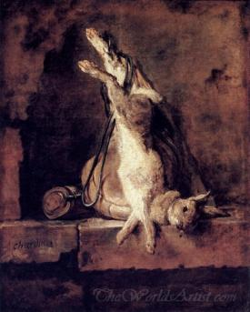 Rabbit With Game Bag And Powder Flask