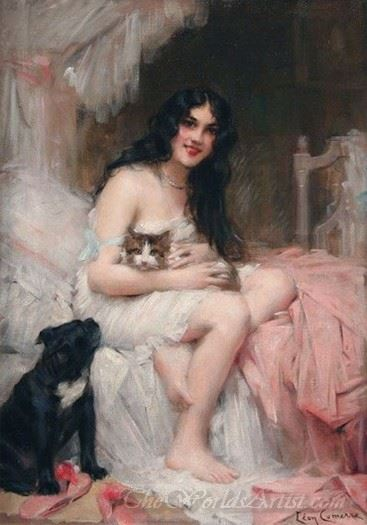 Beauty In Bed With Kitten And Black Dog