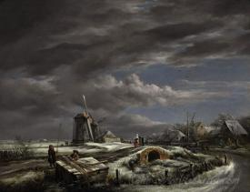 A Winter Landscape With With Figures On A Path