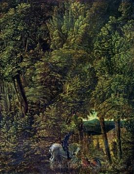 Forest Landscape With St Georges Dragon Fight