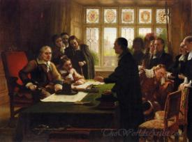 Oliver Cromwell And His Secretary John Milton Receiving A Deputation