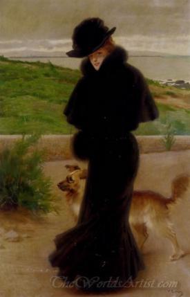 An Elegant Lady With Her Faithful Companion By The Beach