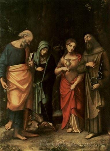 Four Saints From Left St Peter St Martha St Mary Magdalene St Leonard