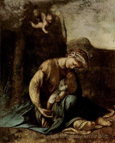 The Madonna And Child With White Rabbit  (La Zingarella)
