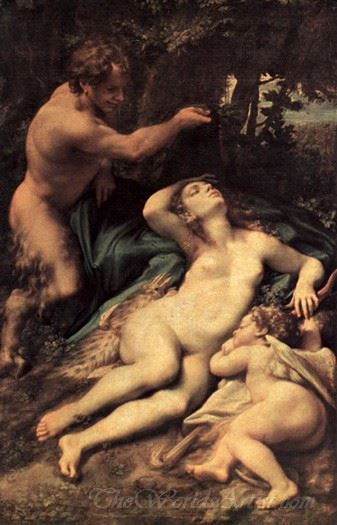 Venus And Cupid With A Satyr  (Antiope)