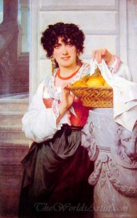 Girl With Basket Of Oranges And Lemons
