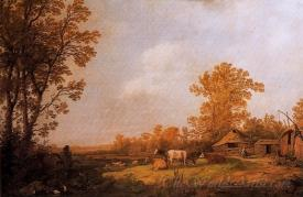 A Farm With Cottages And Animals
