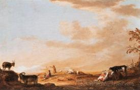Cattle And Cottage Near A River