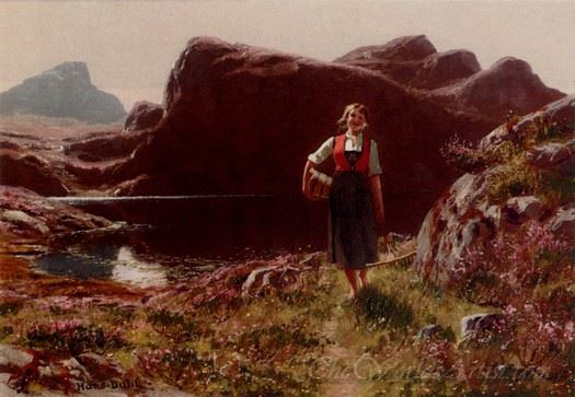 A Girl On A Sunlit Track Before A Fjord