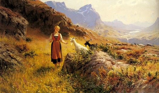 An Alpine Landscape With A Shepherdess And Goats