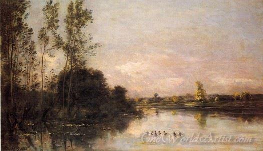 Ducklings In A River Landscape
