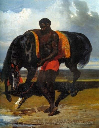 African Keeping A Horse At The Side Of A Sea