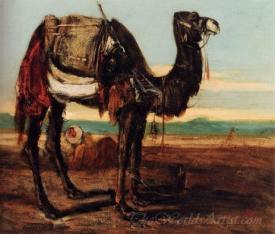A Bedouin And A Camel Resting In A Desert Landscape