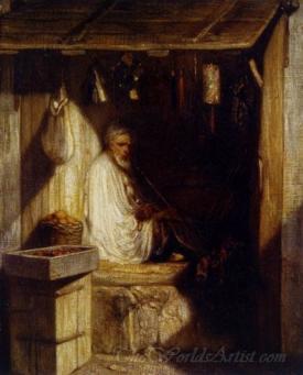 Turkish Merchant Smoking In His Shop