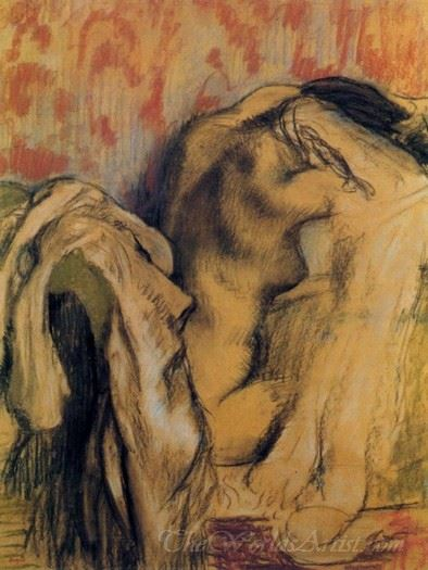 After The Bath Woman Drying Herself