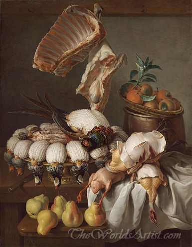 Still Life With Dressed Game Meat And Fruit