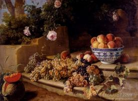 Grapes Peaches In A Blue And White Porcelain Bowl And A Melon