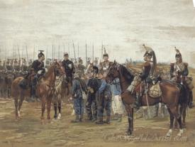 A French Cavalry Officer Guarding Captured Bavarian Soldiers