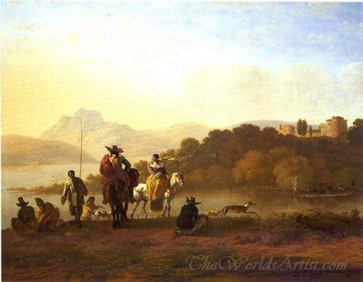 Elegant Riders On A Hilltop Overlooking A Lake