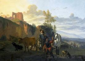 Italiaans Landschap Met Soldaten  (Italian Landscape With Soldiers)
