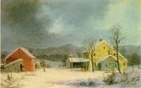 Yellow Farmhouse In Winter