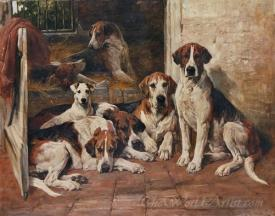 Hours Of Idleness Hounds And A Terrier In A Kennel