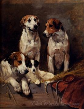 Three Hounds With A Terrier