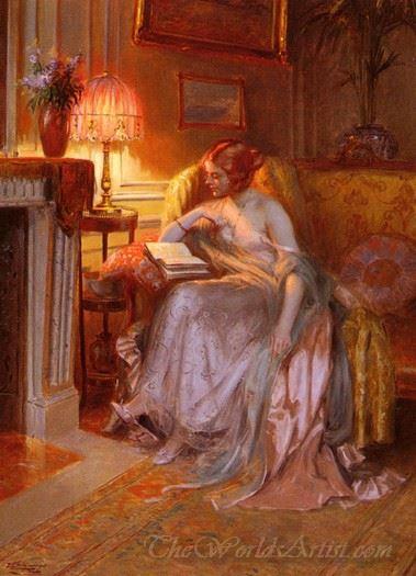 La Lecture Pres De La Lampe  (Reading Near The Lamp)