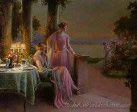 Elegant Ladies Taking Tea