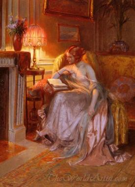 La Lecture Pres De La Lampe  (Reading Near The Lamp)
