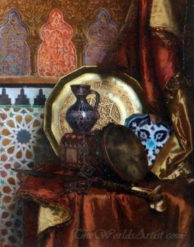 A Tambourine Knife Moroccan Tile And Plate On Satin Covered Table