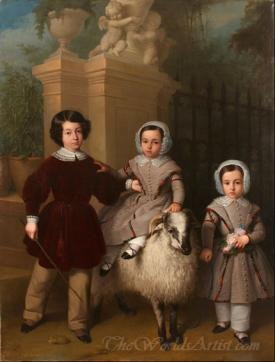 Children Playing With A Ram