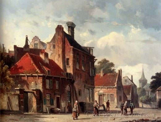 View Of A Town With Figures In A Sunlit Street