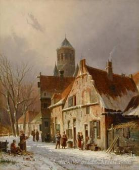 Dutch Street Scene In Winter