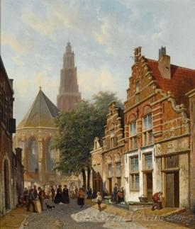 Elegant Figures In A Sunlit Dutch Town