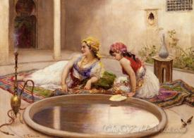 Reclining Odalisques By A Reflecting Pool