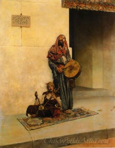 Street Musicians In A Middle Eastern Town