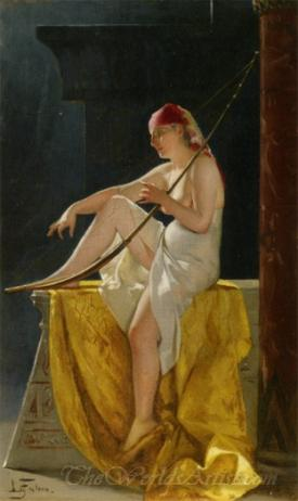 Egyptian Woman With Harp