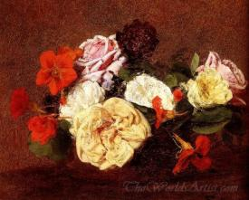Bouquet Of Roses And Nasturtiums
