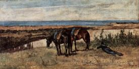 A Soldier With Two Horses On The Shore Of The Sea
