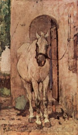 A White Horse In Front Of A Door